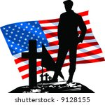 Vector Silhouetted Soldier...