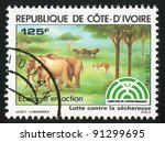 ivory coast circa 1983  stamp... | Shutterstock . vector #91299695