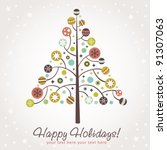stylized design christmas tree... | Shutterstock .eps vector #91307063