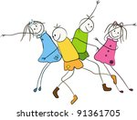 cute dancing children - stock vector