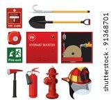 set of firefighting equipment | Shutterstock .eps vector #91368701