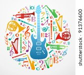 multicolored music instruments... | Shutterstock .eps vector #91376600