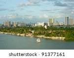 miami waterfront homes at sunset | Shutterstock . vector #91377161