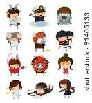 boys and girls dressed like... | Shutterstock .eps vector #91405133