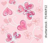 heart end flower seamless... | Shutterstock .eps vector #91406912