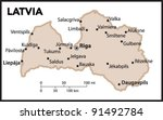 latvia country map | Shutterstock .eps vector #91492784