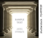 Old columns is ancient style. Realistic 3D illustration sepia toned - stock photo
