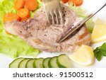 steak with vegetables   Shutterstock . vector #91500512