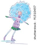 happy girl with snowflakes in... | Shutterstock .eps vector #91510457