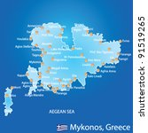Island of Mykonos in Greece map on blue background - stock vector