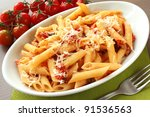 italian pasta with sauce and... | Shutterstock . vector #91536563