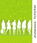 silhouettes of young people... | Shutterstock .eps vector #91552934
