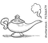 Doodle Style Genie Aladdins Lamp Vector Stock Vector Royalty Free