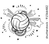 Doodle style volleyball sports illustration in vector format with retro 1970s pop background - stock vector