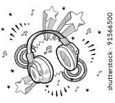 doodle style audio headphones... | Shutterstock .eps vector #91566500