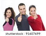 Young people laughing,showing O.K. with thumbs - stock photo