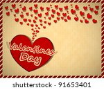 vintage greeting card with red...   Shutterstock .eps vector #91653401