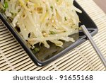Kongnamul Muchim - Korean seasoned beansprout side dish - Close-up - stock photo