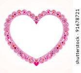 Valentine heart frame - stock vector