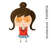 a girl dressed up like a sign... | Shutterstock .eps vector #91698926