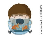 a boy dressed up like a sign of ...   Shutterstock .eps vector #91698929