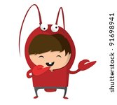 a boy dressed up like a sign of ...   Shutterstock .eps vector #91698941