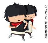 children dressed up like a sign ... | Shutterstock .eps vector #91698947