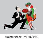 man in black tuxedo kneeling... | Shutterstock .eps vector #91707191