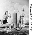 two women sitting around fire... | Shutterstock . vector #91707710