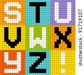 8 bit pixel alphabet letters... | Shutterstock .eps vector #91719107