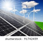 solar energy panels and wind...   Shutterstock . vector #91742459