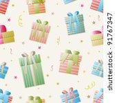 seamless vector gift box pattern | Shutterstock .eps vector #91767347
