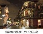 christmas lights on the corner... | Shutterstock . vector #91776362