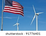An American Flag Flies In The...