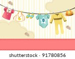 Stock vector a vector illustration of baby clothing on clothespin 91780856