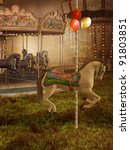 Old Victorian Carousel With...