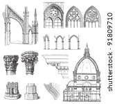 gothic building style  ... | Shutterstock .eps vector #91809710