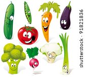 funny vegetable cartoon... | Shutterstock .eps vector #91821836
