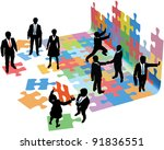business people collaborate to... | Shutterstock .eps vector #91836551