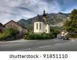 Church in mountains, Austria - stock photo