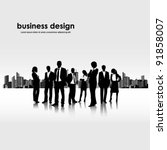 template of a group of business and office people with city landscape | Shutterstock vector #91858007