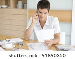 man using his cell phone while...   Shutterstock . vector #91890350