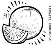 Doodle style fresh, juicy orange illustration in vector format - stock vector