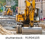 big excavators at urban... | Shutterstock . vector #91904105