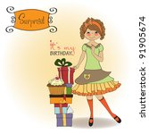 pretty young girl with gift | Shutterstock .eps vector #91905674