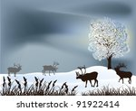 winter landscape with deers... | Shutterstock .eps vector #91922414