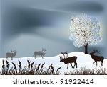 winter landscape with deers...   Shutterstock .eps vector #91922414