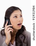 surprised woman on the phone... | Shutterstock . vector #91931984