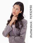 thoughtful businesswoman... | Shutterstock . vector #91932950