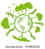 green ecology planet vector... | Shutterstock .eps vector #91983056